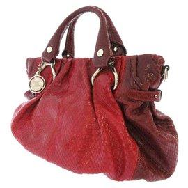 Céline-Celine Red Python Leather Handbag-Red,Other