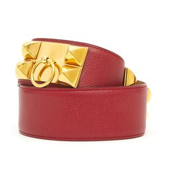 Hermès-MEDOR DOG COLLAR CDC RED 70-Red,Gold hardware