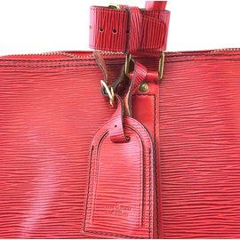 Louis Vuitton-Louis Vuitton Keepall 55 Cuir épi rouge monogramme-Rouge