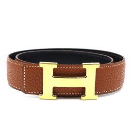 Hermès-Hermes 32mm Classic H Reversible Belt Size 75-Brown