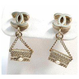 Chanel-CHANEL COCO mark matelasse motif GP Womens Earrings champagne-gold-Golden