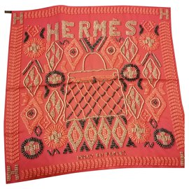Hermès-Silk scarves-Pink,Coral,Fuschia