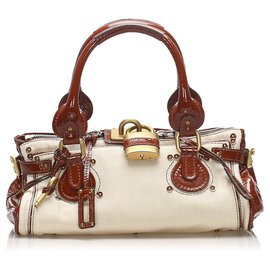 Chloé-Chloe White Paddington Leather Handbag-White,Red