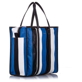 Balenciaga-Balenciaga Blue M Bazar Shopper Lambskin Leather Tote Bag-Blue,Multiple colors