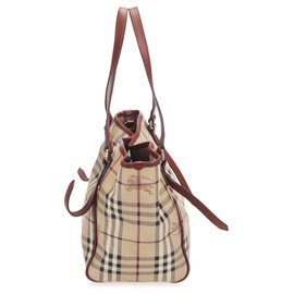 Burberry-Burberry Brown Haymarket Check Canterbury Coated Canvas Tote Bag-Brown,Multiple colors,Beige