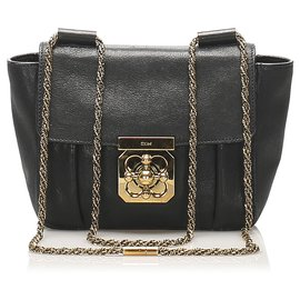 Chloé-Chloe Black Elsie Leather Crossbody Bag-Black