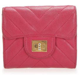 Chanel-Chanel Pink Chevron Mademoiselle Leather Small Wallet-Pink