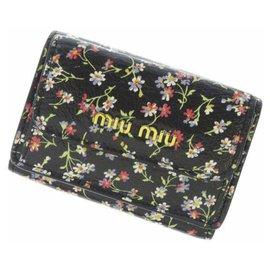 Miu Miu-Miu Miu Black Printed Leather Small Wallet-Black,Multiple colors