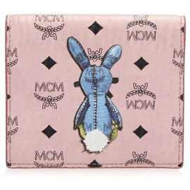 MCM-MCM Pink Bi-fold Visetos Rabbit Leather Small Wallet-Pink,Multiple colors