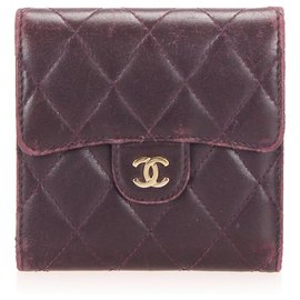 Chanel-Chanel Red CC Timeless Leather Small Wallet-Red,Dark red