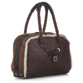 Fendi-Fendi Brown Leather Shoulder Bag-Brown