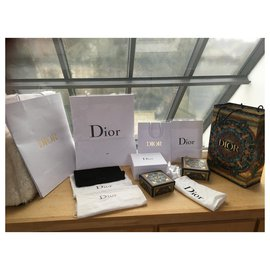 Dior-I am selling a range of very good condition Dior packaging bags with fabric pockets, Dior ribbons and boxes.-White