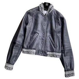Chanel-leather and shearling jacket-Multiple colors