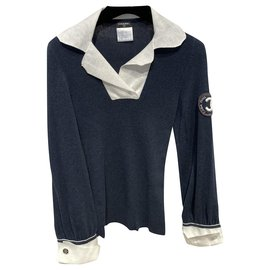 Chanel-Knitwear-White,Navy blue