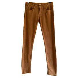 Mother-Suede stretch jeans-Caramel
