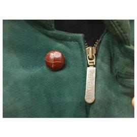 Burberry-Vintage burberry leather coat jacket-Dark green