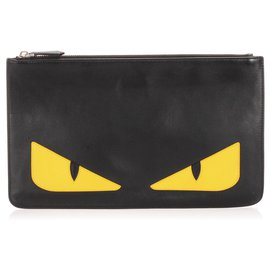 Fendi-Fendi Black Monster Leather Clutch Bag-Black,Yellow