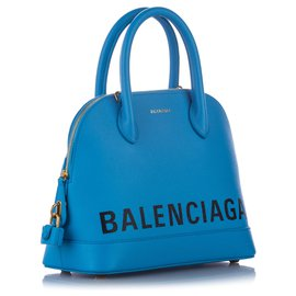 Balenciaga-Balenciaga Blue Ville Leather Satchel-White,Blue