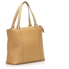 Burberry-Burberry Brown Leather Tote Bag-Brown,Beige