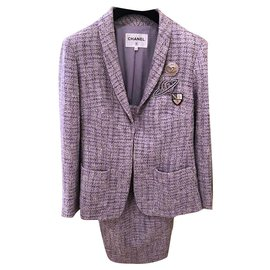 Chanel-9K$ Airlines lilac tweed suit-Lavender