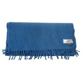 Hermès-HERMES Dark royal blue cashmere scarf-Blue