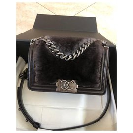 Chanel-Chanel Rabbit Fur Medium Boy Bag-Black