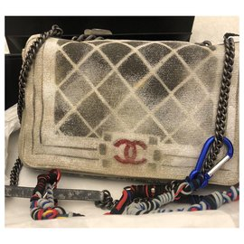 Chanel-Chanel Graffiti Boy bag-Silvery,Multiple colors,Beige,Grey