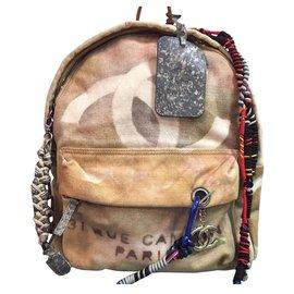 Chanel-Chanel Graffiti Art School Canvas Backpack-Multiple colors,Beige,Grey