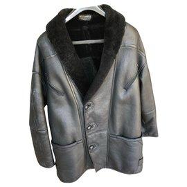 Autre Marque-Ted Lapidus lambskin long jacket-Black