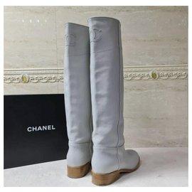 Chanel-Chanel Grey Leather CC Logo Boots Sz. 38-Grey