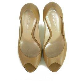 Casadei-Casadei Beige Leather Marble Effect High Heels Peep Toe Pumps Shoes size 8-Beige