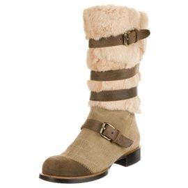 Chanel-Biker boots, Suede, Leather, Fur-Brown,Beige,Cream