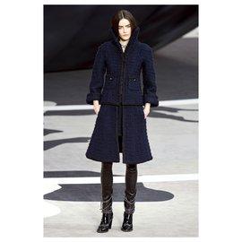 Chanel-runway tweed jacket-Navy blue