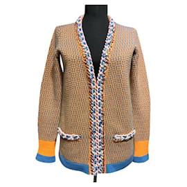Chanel-Strickjacke mit Kettenbesatz-Mehrfarben