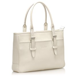 Burberry-Burberry White Leather Tote Bag-White