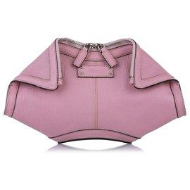 Alexander Mcqueen-Alexander McQueen Pink De Manta Leather Clutch Bag-Pink