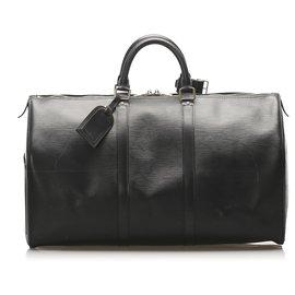 Louis Vuitton-Louis Vuitton Black Epi Keepall 50-Noir