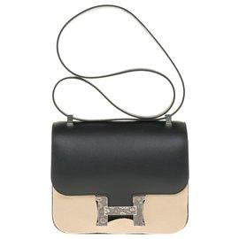 Hermès-NEW / RARE LIMITED SERIES / FULL SET / Hermès Constance 23 in black Madame leather, shadow lizard buckle-Black