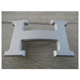 Hermès-Hermès buckle in silver PVD steel 32MM-Silvery