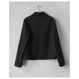 Loewe-Loewe black wool jacket with leather pocket-Black