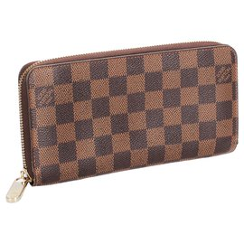 Louis Vuitton-Louis Vuitton Brown Damier Ebene Zippy Long Wallet-Brown