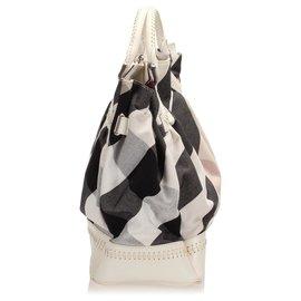 Burberry-Burberry White Mega Check Canvas Tote Bag-White,Multiple colors