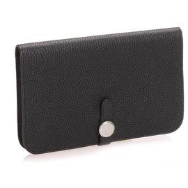 Hermès-Hermes Black Dogon Leather Long Wallet-Black