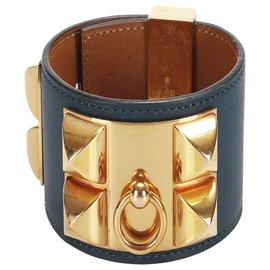 Hermès-Bracelet Hermès Collier de Chien Bleu-Bleu,Doré,Bleu Marine