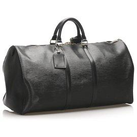 Louis Vuitton-Louis Vuitton Black Epi Keepall 60-Noir