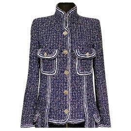 Chanel-9K$ new tweed jacket-Blue