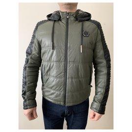 Philipp Plein-Men Coats Outerwear-Black,Khaki