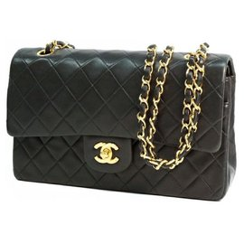 Chanel-Chanel Matelassé25 W flap chain Womens shoulder bag black x gold hardware-Black,Gold hardware