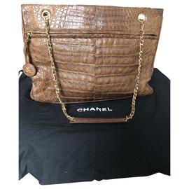 Chanel-Crocodile leather tote-Brown