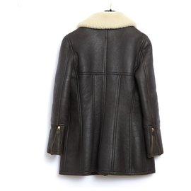 Chanel-shearling aviator fr38-Cream,Dark brown